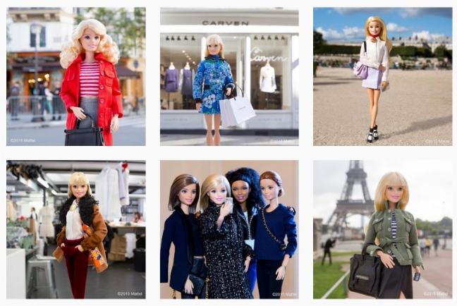 Quelques posts de Barbie sur son compte Instagram