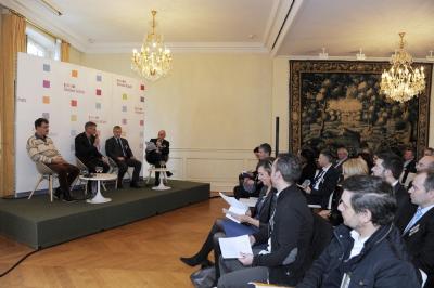Yves Potiron (MO-PLUS), Paul Duchene (Phoenix Développement), Jean-Luc Celotto (Dalkia) et Charles Cohen (Décision Achats)
