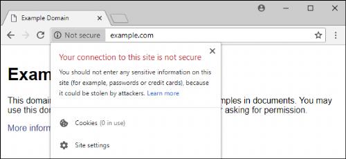 Exemple de message d'alerte que les utilisateurs voient dans Chrome