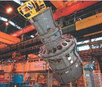 Une des dix turbines à gaz 9FB fournie par GE à EDF. Construites à Belfort, les turbines sont destinées au marché européen de l'électricien français.