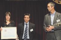 Claude Cordier (Sage CRM Solutions), entouré de Rémy Villebrun et de Gaëtane Renée (Lecaméléon).