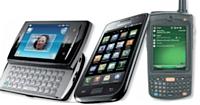 De gauche à droite: Sony Xperia X1 0 mini pro Open Black, Samsung Galaxy S et Motorola MC75.