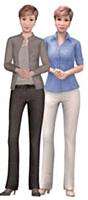 A droite, Claire, l'agent virtuel qui répond aux questions des clients. A gauche, Claire Conseillère, dédiée à leur accompagnement.
