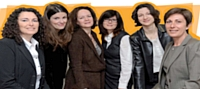 De gauche à droite: Elisabeth Casterman (EDF), Isabelle Pampelune (Xerox France), Scheherazade Zekri-Chevallet (Thalys International), Nathalie Villard (Photomaton), Delphine Mallet , (Chronopost International) et Alida Dumain (Hub'Sales).