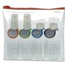 Pour les habitués des salles d'embarquement, Samsonite propose son kit de quatre flacons pour bagage en cabine.