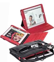 Troika habille l'iPad de rouge ou de noir. Faber-Castell mise sur l'originalité avec ses ensembles en cuir orange et blanc vernis pour agenda et stylos.