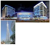 Le luxe et l'espace, symboles de Dubaï. A gauche, le Burj Khalifa est le plus grand gratte-ciel construit au monde. En haut, le Dubai Exhibition Center propose un million de mètres carrés high-tech et modulables.