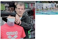 Christian Ricard dans la boutique Arena de l'Open EDF de natation, qui s'est tenu à Paris en juillet 2012.