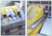 Capteurs solaires Mise en place de la couverture en zinc à joint debout et pose des capteurs solaires pour l'eau chaude sanitaire.