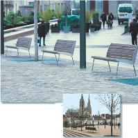 Chartres, qui vient de rénover son nouveau «Coeur de ville», a porté son choix sur les bancs «miami» en inox et en bois de la société Aréa.