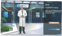 Un personnage guide le prospect quand il surfe sur le site diagnosticableu.com de Mutuelle Bleue.