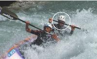 Wilfrid Forgues, en démonstration avec son ex-coéquipier, Frank Melisson, lors du championnat de France 2006 de canoë-kayak.