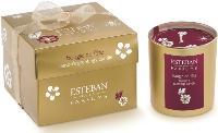 Esteban lance, pour Noël, une bougie aux parfums épicés et gourmands présentée dans un étui or.