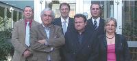 De gauche à droite : Patrice Schroeder, Christian Guillaume, Jean-Marie Heintz, Jean Bonnelye, Guy Meyer, et Christiane Godin. Karl-Heinz Meier, directeur de l'usine allemande, est absent sur la photo.