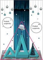 Schéma d'une vitrine reproduisant la règle du triangle d'efficacité La répartition des produits doit respecter deux zones vides, à gauche et à droite du triangle. Cela contribue à concentrer l'attention du client au centre de la vitrine.