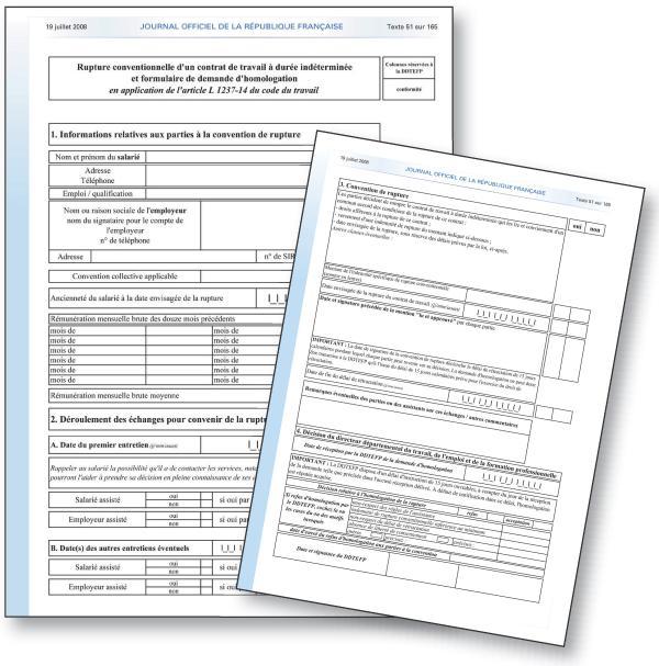 Un formulaire de demande d'homologation d'une rupture conventionnelle ...