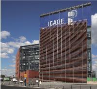 Icade a installé son nouveau siège social dans un immeuble neuf et certifié HQE au sein du Parc du millénaire, à Paris.
