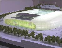Maquette du projet d'Eiffage: 50 000 places assises, un toit rétractable et une pelouse en partie amovible.