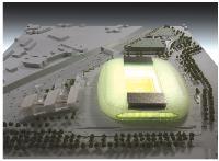 Le futur stade de Lille (50000 places) sera la première enceinte construite dans le cadre d'un contrat de partenariat public-privé en France.