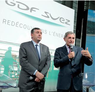 Jean-François Cirelli, vice-président et dg délégué du groupe GDF Suez là gauche), et Gérard Mestrallet, p-dg, lors de la présentation du plan Efficio, le 26 novembre dernier.