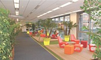 Chez Nokia France, les collaborateurs peuvent profi ter d'un coin détente design, coloré et naturel.