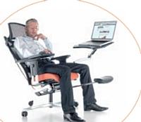 Le fabricant ProfiM propose son mPosition, un siège semi allongé doté d'une tablette conçue pour recevoir un ordinateur portable.