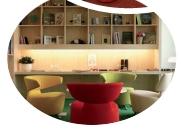Danone a créé deux salon aux couleurs vives, L'Agora (en haut) et La Véranda (en bas).