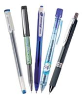La gamme Pilot avec le Choose, le Green Tecpoint, le Rexgrip bille, le B2P bille et le dernier stylo Pantel, Oh!Gel.
