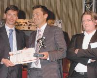 Trophée Innovation technologique Thibaud Ravisé (directeur associé d'Alténor), Franck Ginko (directeur Clientèle et Marketing direct de Finaref) et Jocelyn Klein (directeur général d'Abstrakt).