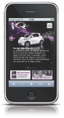L'interface du site iphone.iq4u. fr se veut simple et design. Ici, le mobinaute peut consulter différentes informations sur la nouvelle citadine de Toyota.