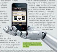 Le site mobile des cin�mas enregistre 100 000 visiteurs par mois.