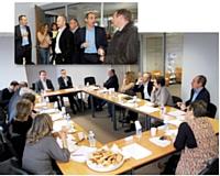 Autour des rédactions d'Editialis, la table ronde réunissait Philippe Gredy (LFB Biomedicaments), Christophe Poissonnier (Ciel), Emmanuel Fougère (PPR), Gérard Denis (Denis & Co), Christophe Chambon (Campbell Soup), Laurent Dunkelmann (ETO) et Eric Genevois (Mundocom).
