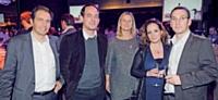 Antoine Pasquier-Desvignes, Cyril Penouty et Hervé Malinge, de Score MD, aux côtés de Sophie Mazurel et de Sophie Echeverria, Marketing Direct.