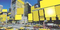 Une mise en évidence efficace de la pression publicitaire par des artistes viennois. Ici, un montage avec des panneaux recouverts de jaune.