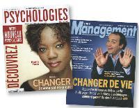 La recherche d'idéal fait la Une des journaux, à l'instar de Psychologies et de Management, qui ici se penchent sur les changements de vie et la transformation de soi.