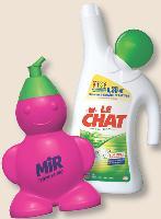Le Chat et son Bonhomme déhanché, Mir et son degraiss'Boy, ou Quand Le packaging devient ludique. une spécialité Henkel!