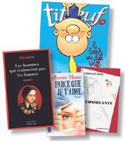 En 2008, les livres les plus vendus sont notamment Millenium, le volume 12 de Titeuf, Parce que je t'aime de Guillaume Musso et La Consolante d'Anna Gavalda (source: Ipsos/ Livres Hebdo).
