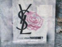 Pour lancer son parfum La Parisienne, Yves Saint Laurent a disséminé dans Paris des tags éphémères, siglés Cassandre. La phase de révélation de la campagne reposait sur la distribution d'une revue baptisée Journal parisienne.