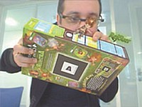 Le paquet de céréales se transforme en console de jeu vidéo et permet d'accéder à un monde en 3D.
