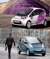 La Citroën C-zero et la Peugeot iOn. Les deux citadines électriques de PSa arriveront sur le marché en décembre prochain.