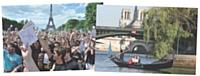 Deux événements pensés par Passage Piéton. A gauche, un karaoké géant au champ de mars pour yahoo. A droite, des gondoles vénitiennes offrent des balades aux amoureux sur la seine pour match.com.