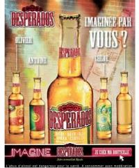 Sur le site de Desperados, l'internaute peut personnaliser ses bouteilles de bières.