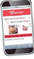 La régie d'Orange met en scène la marque Francine sur son portail mobile à travers des interstitiels.