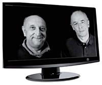 Les deux dirigeants d'AlloCiné, G. Lassalle (à g.) et A Le Diberder, souhaitent, à terme, toucher chaque Français, via la TNT.