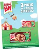 Autre exemple de «promotion expérientielle»: Mini BN propose des pass loisirs pour l'achat de trois paquets de biscuits.