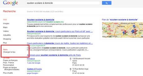 La recherche dans Google tient compte de votre localisation