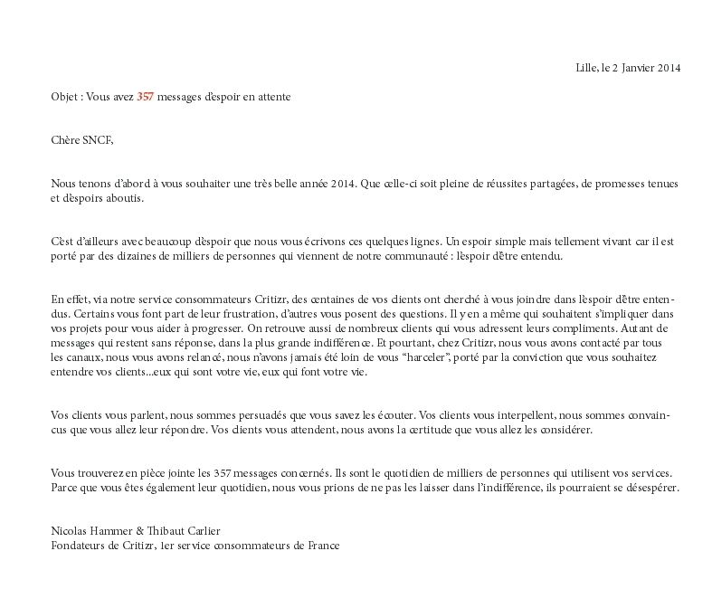 Critizr envoie 357 courriers de r clamation la sncf - Reclamation reexpedition courrier ...