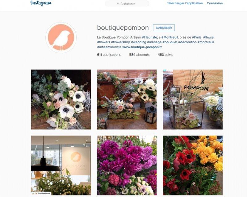 Capture décran du compte instagram de la boutique pompon à montreuil