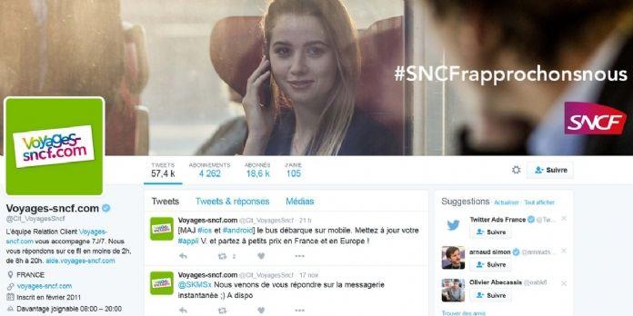 """Voyages-sncf.com """"davantage joignable"""" sur Twitter"""
