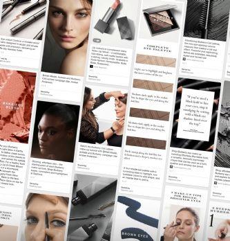 Burberry crée des tableaux de maquillage personnalisés sur Pinterest